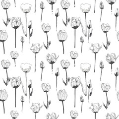 Seamless pattern with tulips, vintage, grunge background. Perfect for print on fabric, wrapping paper etc.