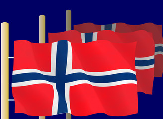 Illustration of Norwegian Flags on the flagpoles