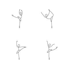 Cartoon icon set of sketch little stick figure ballet dancer