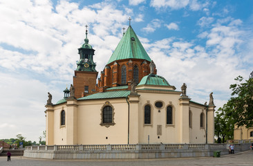 Gniezno Cathedral old landmark  in Poland on sunny day