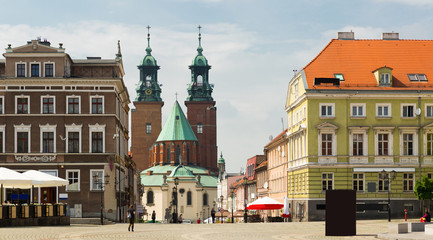 Gniezno streets and building historical center, old town in Poland