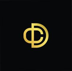 Initial Gold letter CD DC Logo Design with black Background Vector Illustration Template