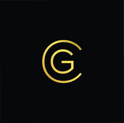 Initial Gold letter CG GC Logo Design with black Background Vector Illustration Template
