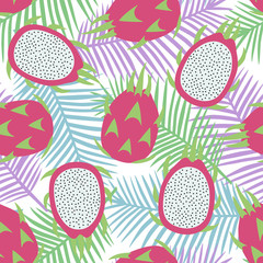 sweet whole dragon fruit and cut dragon fruit tropical exotic pink with seeds pitaya on blue green and purple palm leaves background summer seamless pattern vector