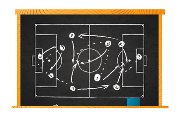 White chalk game plan on football field marks on blackboard isolated on white