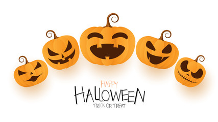 Happy Halloween greeting card with pumpkin web Banner design.