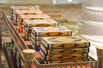 holy Koran books on a shelf in a mosque