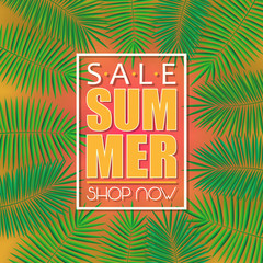 Summer sale banner, poster template with palm leaves and jungle leaf . Jungle tropical summer background.