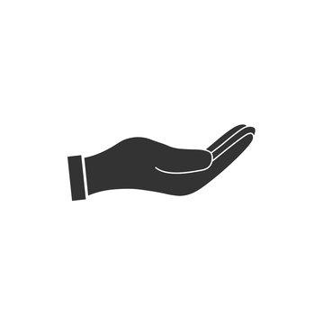 Open hand icon. Vector illustration. Flat design.