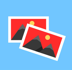 Two photos picture gallery album catalog concept. Vector flat cartoon graphic design element isolated icon