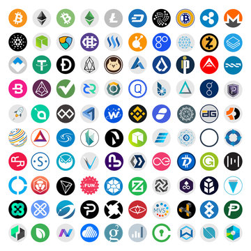Crypto currency blockchain assets vector logo set round isolated on white background - illustration