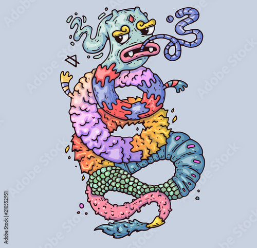 Magical dragon  Twisted Monster  Cartoon illustration for