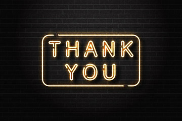Vector realistic isolated neon sign of Thank You logo for decoration and covering on the wall background.