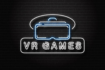 Vector realistic isolated neon sign of VR glasses logo for decoration and covering on the wall background. Concept of game, cyberspace and virtual reality entertainment experience.