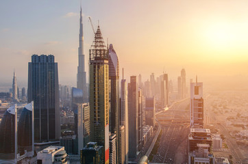 Dubai in sunset time, United Arab Emirates