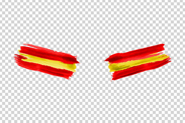 Vector realistic isolated paint on cheeks for football fans with Spain flag coloring for photo decoration and covering on the transparent background. Concept of football championship.
