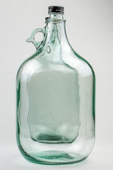 empty bottle, glass, white background, transparent, bottle with handle, two bottles