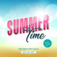 Summer Time Template Banner/ Illustration of a summer sale template banner with colorful elements, sand and sky background