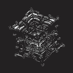 White snowflake on black background. This vector illustration based on macro photo of real snow crystal: small star plate with six short, broad arms, glossy surface and complex inner structure.