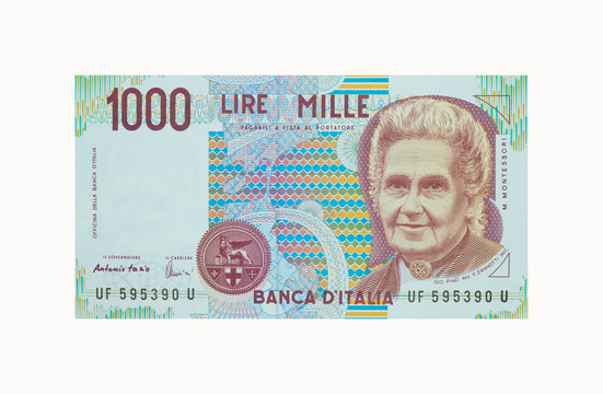 "Old Italian currency notes issued by Bank of Italy in 1990. 1000 Lire banknote.  ,called ""Maria Montessori"""