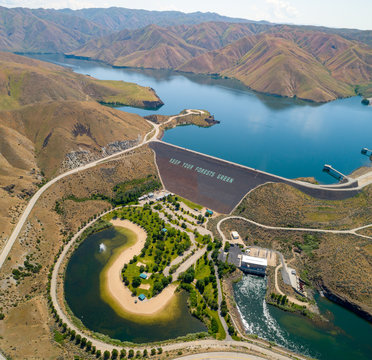 Aerial perspective over the famous Lucky Peak Earthen Dam on the Boise River in Idaho