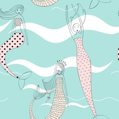 Vector cute seamless pattern with a mermaid