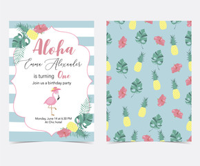 Green pink invitation card with palm, pineapple,hibiscus,flamingo,banana leaf and flower in summer
