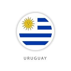 Uruguay Circle Flag Vector Template Design Illustrator