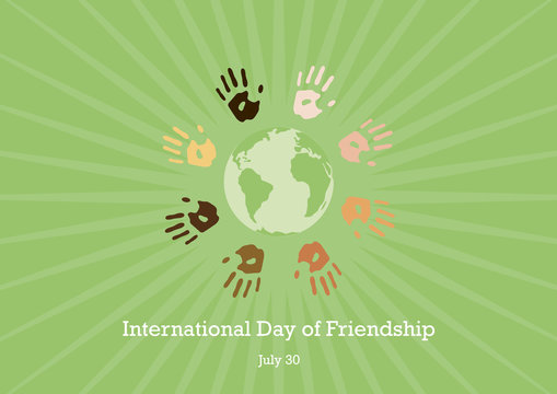 International Day of Friendship vector. Color hand print picture. Handprints on a green background. Important day