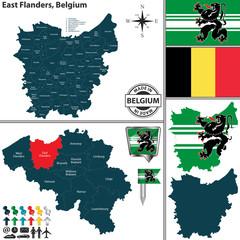 Map of East Flanders, Belgium