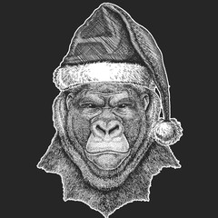Gorilla, monkey, ape Frightful animal Christmas, new year celebration. Santa Claus winter hat. Xmas headdress.