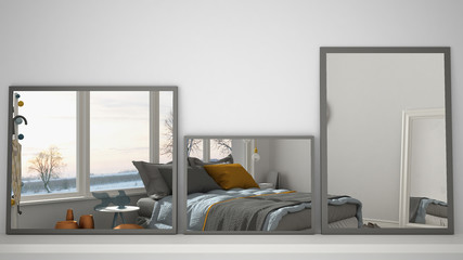 Three modern mirrors on shelf or desk reflecting interior design scene, bedroom with big panoramic window, minimalist white architecture interior design