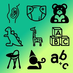 Vector icon set  about baby with 9 icons related to school, stool, hat, single and leisure