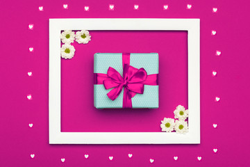Happy Mother's Day, Women's Day, Valentine's Day or Birthday Pastel Candy Colours Background. Pink floral flat lay with beautiful present greeting card.