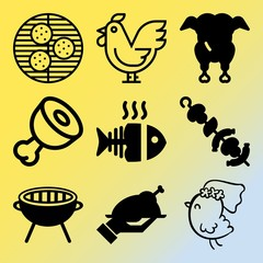 Vector icon set  about barbecue with 9 icons related to preparation, fish, slice, wooden and vector