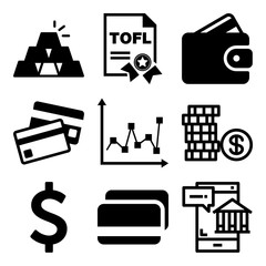Vector icon set  about bank with 9 icons related to invest, object, bank, data and display