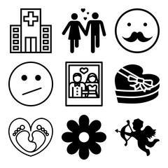 Vector icon set  about love with 9 icons related to face, insurance, concept, garden and cardiogram