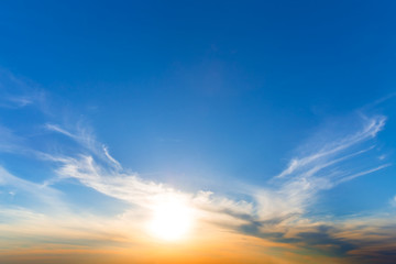 beautiful dramatic cloudy sunset, natural background