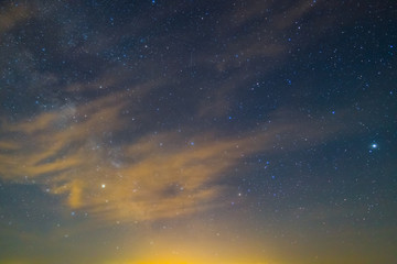 night starry sky with clouds, nature background