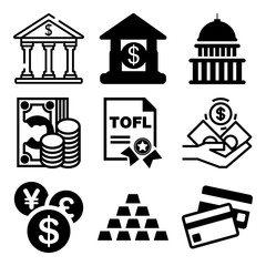 Vector icon set  about bank with 9 icons related to finance, template, woman, vector and internet