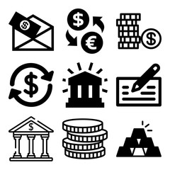 Vector icon set  about bank with 9 icons related to save, sign, success, information and protect