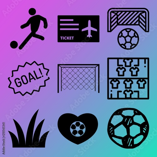 Vector Icon Set About Soccer With 9 Icons Related To Competition Stadium Fresh