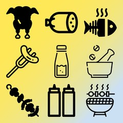 Vector icon set  about barbecue with 9 icons related to hen, farm, salmon, symbol and salad