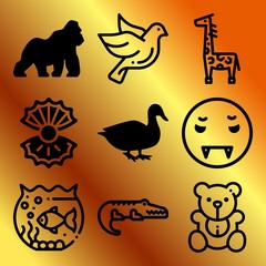 Vector icon set  about animals with 9 icons related to aquatic, scuba, soft, happy and predator