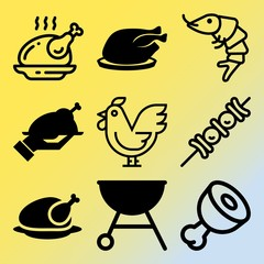 Vector icon set  about barbecue with 9 icons related to tiger, fast, menu, plate and flavoring