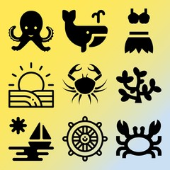 Vector icon set  about sea with 9 icons related to conservation, abstract, wild, sunshine and seaweed