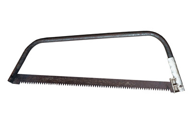 Old rusty hand saw isolated on white background with clipping path.