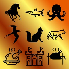 Vector icon set  about animals with 9 icons related to silhouette, fun, sky, jumping and dish