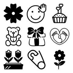 Vector icon set  about love with 9 icons related to sad, daughter, plant, holiday and bear