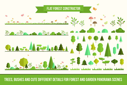 Create your own forest - flat constructor kit. Huge collection of infographic vector elements. Set of trees, bushes, florals and cute details for nature landscape panorama scenes, app and game design